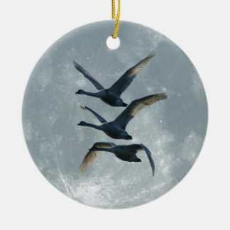 Geese And The Moon Ceramic Ornament
