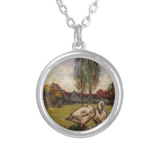 Geese by Alfred Sisley Silver Plated Necklace