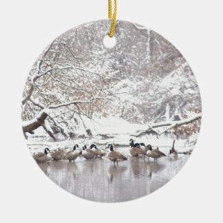 Geese in Snow Ceramic Ornament
