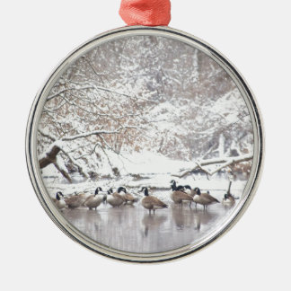 Geese in Snow Metal Ornament