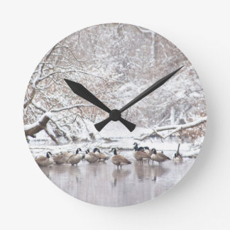 Geese in Snow Round Clock