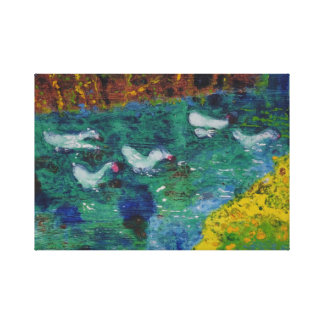 Geese on the canal canvas print