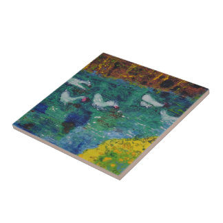 Geese on the canal ceramic tile