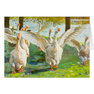 Geese Running Through The Green Park Card