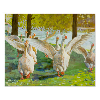 Geese Running Through The Green Park Poster