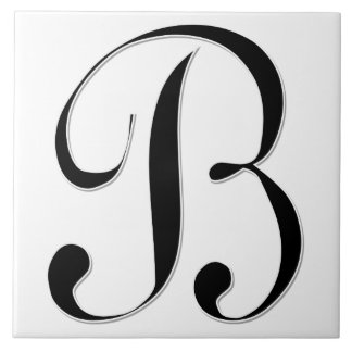 Geessele Letter B in Black Monogram Tile
