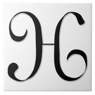 Geessele Letter H in Black Monogram Tile