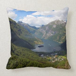 Geiranger Fjord landscape, Norway Throw Pillow
