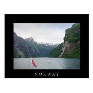 Geiranger fjord with Norwegian flag black postcard