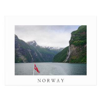 Geiranger fjord with Norwegian flag white postcard