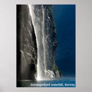 Geirangerfjord waterfall, Norway Poster