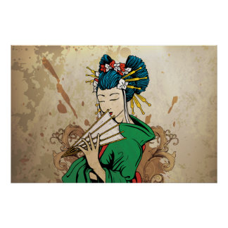 Geisha 芸者 Japanese horizontal print poster