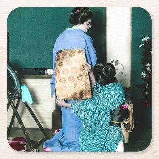 Geisha Adjusting Kimono Obi for Geisha Vintage Square Paper Coaster