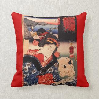 Geisha and Her Cat Throw Cushion