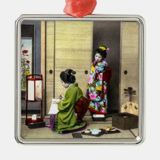 Geisha and her Meiko in Old Japan Vintage Silver-Colored Square Ornament