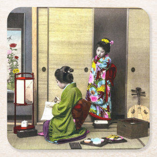 Geisha and her Meiko in Old Japan Vintage Square Paper Coaster