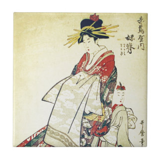 Geisha and Little One Tile