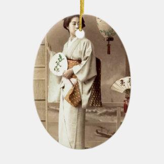 Geisha Ceramic Oval Ornament