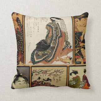 Geisha Collage Throw Pillow