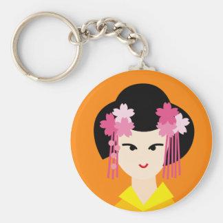 geisha face 4 basic round button keychain