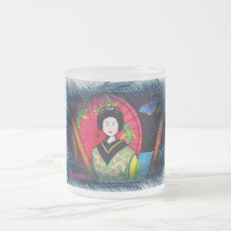 Geisha Frosted Glass Coffee Mug