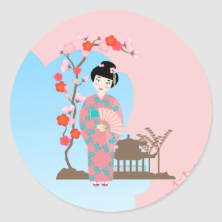 Geisha girl birthday party classic round sticker