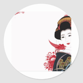 Geisha Girl Classic Round Sticker