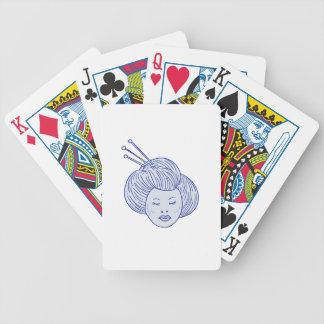 Geisha Girl Head Drawing Bicycle Playing Cards