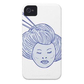 Geisha Girl Head Drawing Case-Mate iPhone 4 Case