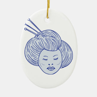 Geisha Girl Head Drawing Ceramic Ornament