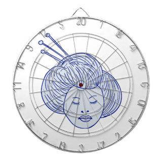Geisha Girl Head Drawing Dartboard