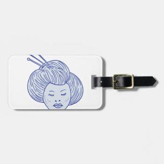 Geisha Girl Head Drawing Luggage Tag