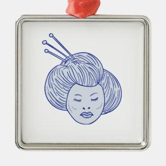 Geisha Girl Head Drawing Metal Ornament