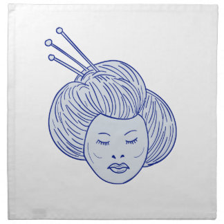 Geisha Girl Head Drawing Napkin
