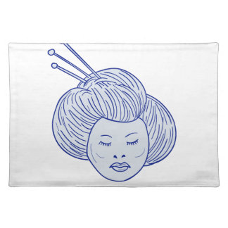 Geisha Girl Head Drawing Placemat