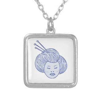 Geisha Girl Head Drawing Silver Plated Necklace