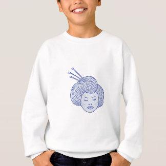 Geisha Girl Head Drawing Sweatshirt