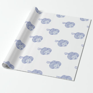 Geisha Girl Head Drawing Wrapping Paper