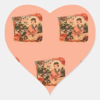 Geisha Girl Heart Sticker