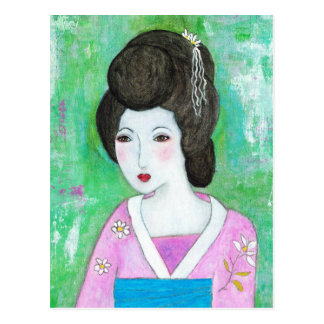 Geisha Girl Mixed Media Abstract Painting Postcard