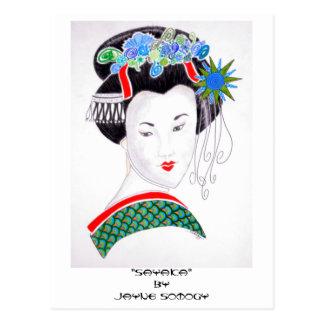 Geisha Girl Orig. Art Postcard