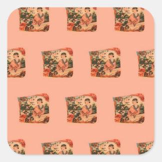 Geisha Girl Square Sticker