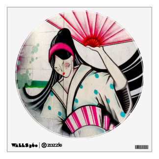 Geisha Girl with Umbrella Wall Sticker