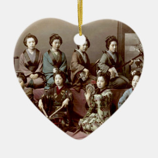 Geisha Girls Playing Instruments - Kusakabe Kimbei Ceramic Heart Ornament