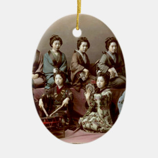 Geisha Girls Playing Instruments - Kusakabe Kimbei Ceramic Oval Ornament