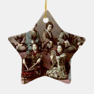 Geisha Girls Playing Instruments - Kusakabe Kimbei Ceramic Star Ornament