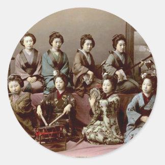 Geisha Girls Playing Instruments - Kusakabe Kimbei Classic Round Sticker