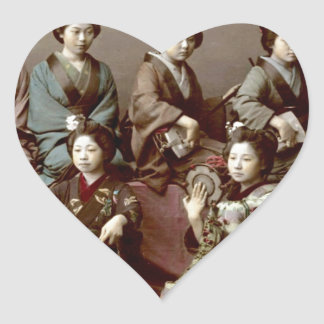 Geisha Girls Playing Instruments - Kusakabe Kimbei Heart Sticker