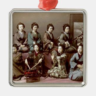Geisha Girls Playing Instruments - Kusakabe Kimbei Silver-Colored Square Ornament
