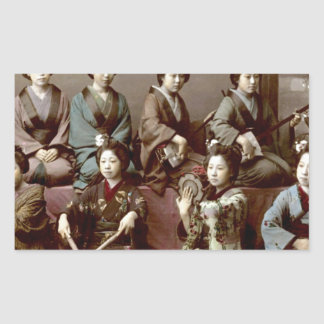 Geisha Girls Playing Instruments - Kusakabe Kimbei Sticker